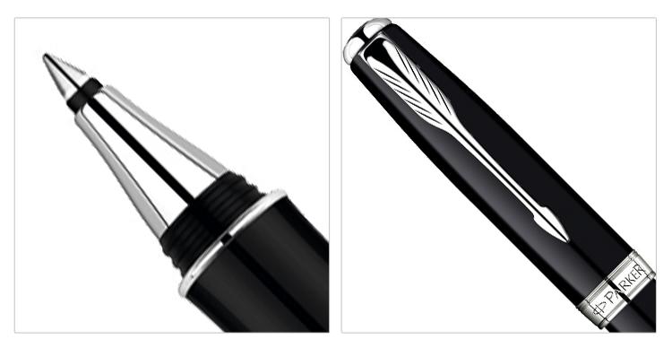 派克08卓尔系列纯黑丽雅白夹宝珠笔(签字笔)