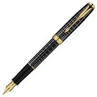 派克08卓尔系列纯黑丽雅格子纹金夹墨水笔(钢笔)