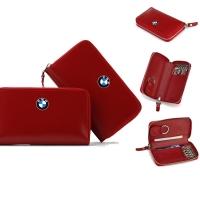 牛皮拉链钥匙包(红色)F-8165