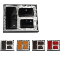 牛皮单链西装夹+牛皮名片包+牛皮拉链钥匙包礼品套装 LH-8158-8166-8165
