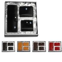 牛皮西装夹+牛皮名片包+牛皮拉链钥匙包礼品套装 LH-8159-8166-8165