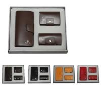 牛皮单链西装夹+牛皮钥匙包+牛皮名片包礼品套装 LH-8158-8169-8166