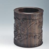 清明上河图浮雕大笔筒YSC-017-红木礼品