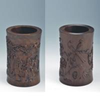 浮雕笔筒(献寿图、梅雀图)YSC-016-红木礼品