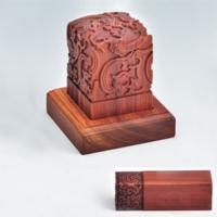 浮雕九龙印章套装YSC-008-红木礼品
