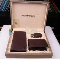 Hush Puppies 暇步士 皮具礼盒三件套 (长+短款钱夹、钥匙扣)深啡色 TL1088-18