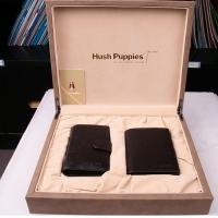 Hush Puppies 暇步士 皮具礼盒两件套 (短款钱夹、卡包)浅咖色 TL1088-27