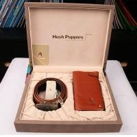 Hush Puppies 暇步士 皮具礼盒两件套 (短款卡包、皮带)深啡色 TL1088-25