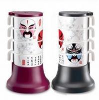 广告水杯套装 脸谱套杯/高级美耐瓷四件套/高档杯具套装/ 叠叠杯 GGSB5