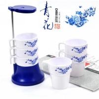 广告水杯套装 创意青花韵六层套杯/水杯 GGSB4