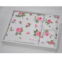 玫瑰花精品双层贴布印花毛巾三件套