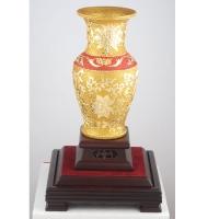 漆线雕-牡丹金瓶(10寸)