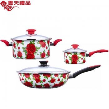 珐琅厨具 玫瑰情缘三件套(炒锅、汤锅、奶锅)