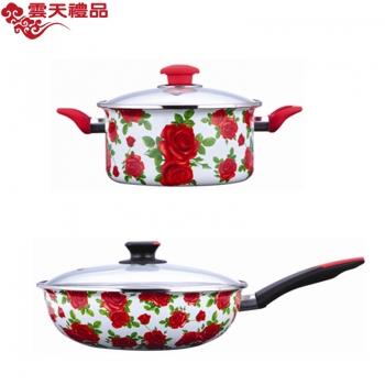 珐琅厨具 玫瑰情缘两件套(炒锅、汤锅)