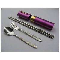 户外餐具 大号铝盒筒装幸运草叉勺筷三件套 MR-0606