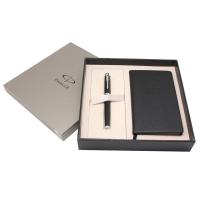 派克(PARKER)IM磨砂黑杆白夹签字笔+60K笔记本礼盒