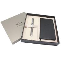 派克(PARKER)IM金属灰格子纹宝珠笔+60K笔记本礼盒
