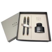 派克(PARKER)都市磨砂黑杆金夹墨水对笔+墨水礼盒