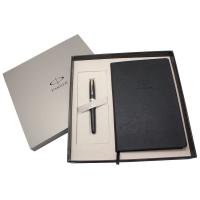 派克(PARKER)08卓尔磨砂黒杆金夹宝珠笔+32K笔记本礼盒