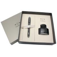 派克(PARKER)都市乌木黑格子纹墨水笔+墨水礼盒套装
