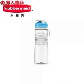 乐柏美(Rubbermaid)Tritan螺旋防滑水瓶揭盖式600ML新蓝