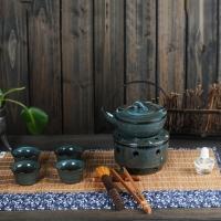蓝天目釉望月酒精炉茶具