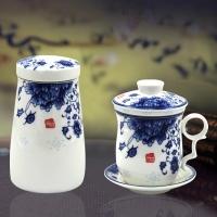 国色天香四件杯+鼓形茶叶罐