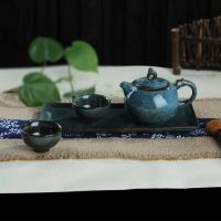 蓝天目釉龙头壶茶具4入