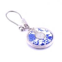 高档礼品盒装真青花瓷中国元素钥匙扣钥匙链挂件定制
