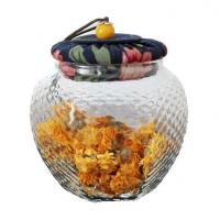 耐热六角玻璃茶叶罐包装罐 花布软木塞透明密封罐杂粮花茶罐定制