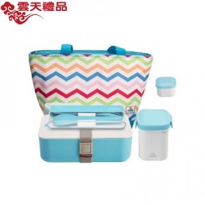时尚便当盒套塑料密封保温分格饭盒带包包定制