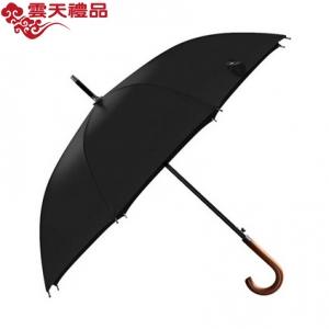 双人伞木柄弯把长款自动伞