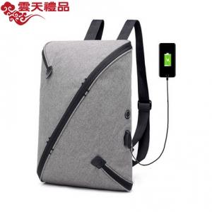 多功能男士双肩包USB充电智能防盗背包