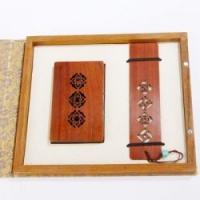 特色中国风红木笔酸枝木名片夹书签办公室二件套