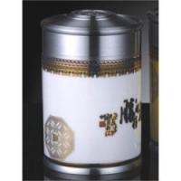 中国锡器 《旗开得胜》锡制品陶瓷青花茶叶罐