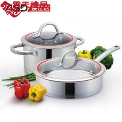 爱仕达 高档304不锈钢汤锅煎锅