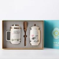 湖畔居 茶杯茶叶罐礼盒套装陶瓷杯茶水分离杯茶叶罐