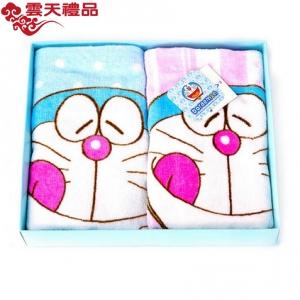 :哆啦A梦DM-4510 毛巾礼盒 (蓝色、粉色毛巾各一条)纯棉儿童毛巾礼盒定制