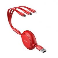倍思 数据线三合一 苹果/Type-c/安卓一拖三伸缩数据线手机充电器线适用定制 1.2m 红色
