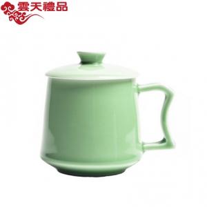 空山新雨 创意带盖陶瓷泡茶办公杯 会议龙泉青瓷马克杯礼品杯定制