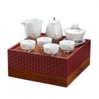 珐琅彩八件套陶瓷茶壶茶具重竹盘泡茶器茶具套装定制