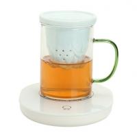 德化玻璃陶瓷茶具套装 55度恒温杯配加热垫加热茶杯定制