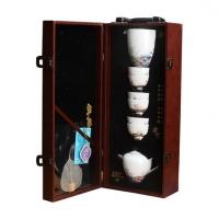 德化羊脂玉瓷美人壶茶具九件套 皮革包装白瓷便捷式茶具套装定制