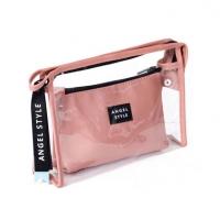 新款便携2件套pvc透明化妆包大容量手提收纳包定制